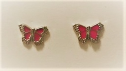 Small silver and pink butterfly earrings