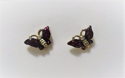 Purple and gold butterfly earrings