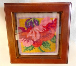 Framed Cross Stitched Florals  3
