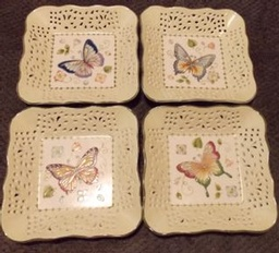 Set of 4 Beautiful Butterfly Decoration Plates