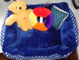 Blue Polka Dot Plush Bed with Toys