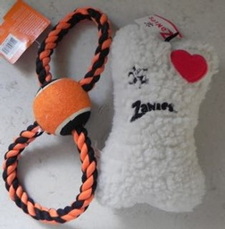 Zanies Squeaky Bone and Rope with Ball