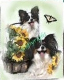 Two Papillons w/Sunflowers by Mary Fournier