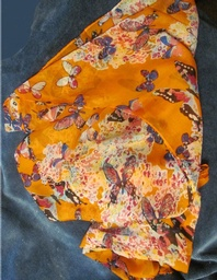 Silk like Chiffon Orange Butterfly Scarf -- 1 of 2