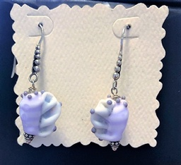 Sterling Silver Earrings of Artist made Lampwork Glass Shells