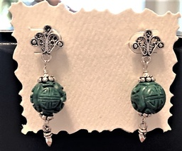Sterling Silver Pierced Earrings of Carved Malarite and Sterling Silver