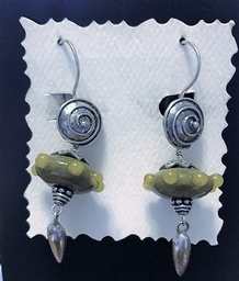 Sterling Silver earrings with artist made L.ampwork Glass and Bali Sterling