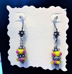 Sterling Silver Earrings of Lampwork Glass and bali Sterling
