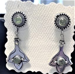 Sterling Silver Earrings with Peridot Setting in Bali Sterling