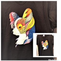 Beautiful SS T-shirt - Black with Colorful Papillon