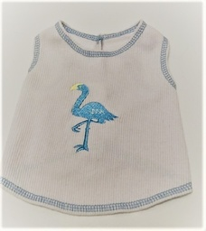 White Ribbed T-Shirt with blue flamingo, Small
