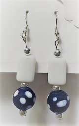Blue and White beaded dangle earrings