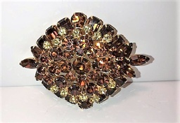 Beautiful Amber Colored Crystal Brooch