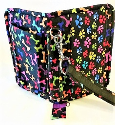 Wristlet with dog prints and bones