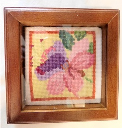 Framed Cross Stitched Florals  1