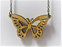 Wooden laser cut butterfly necklace